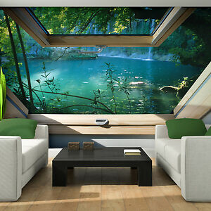 vlies tapete fototapeten tapeten fenster blick 3d wasser wald natur 14n10410ve ebay. Black Bedroom Furniture Sets. Home Design Ideas