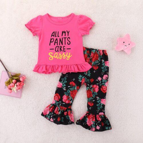 Kids Baby Girls Short Sleeve Ruffles T-shirt Tops Floral Pants Cotton Clothes