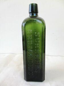 Antique-Green-Schnapps-Bottle-J-H-Henkes-Schiedam-Aromatico-Collectibles-Rare-F