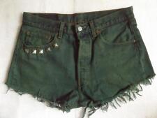 Levi Vintage High Waisted Shorts Size 12 Dark Green Denim Cut Off 501 Red Tab