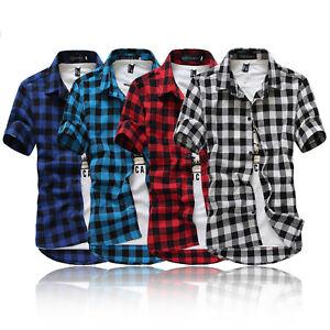 Stylish-Mens-Boys-Short-Sleeve-Check-Casual-Shirt-Summer-T-shirt-Tee-Tops-Blouse
