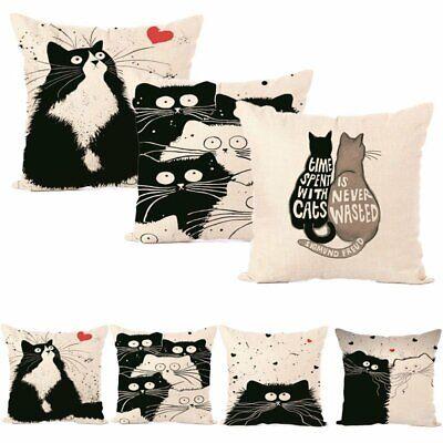 Vintage Cat Cotton Pillow Case Sofa Waist Throw Cushion Cover Home Car Decor