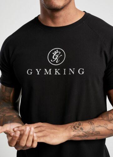 Gym King Mens New Short Sleeve Crew Neck T-Shirt Sport Logo Tee Black