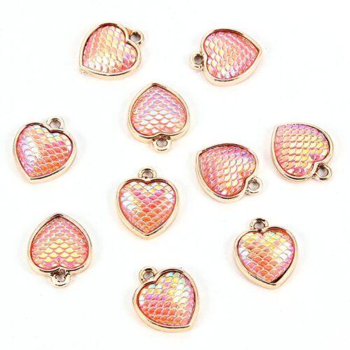10Pc Sirène écailles de poisson Amour Coeur Résine Charme Pendentif Fit À faire soi-même Bracelet /& Boucles D/'oreilles