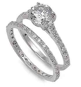Solitaire-Sterling-Silver-1-75ct-Simulated-Diamond-Sz-5-Engagement-Ring-Set-S11