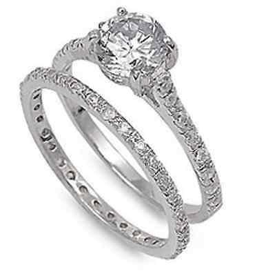 Bridal Jewelry 18k Gold Filled Simulated Diamond Wedding Band Ring Sz5-Sz8.5