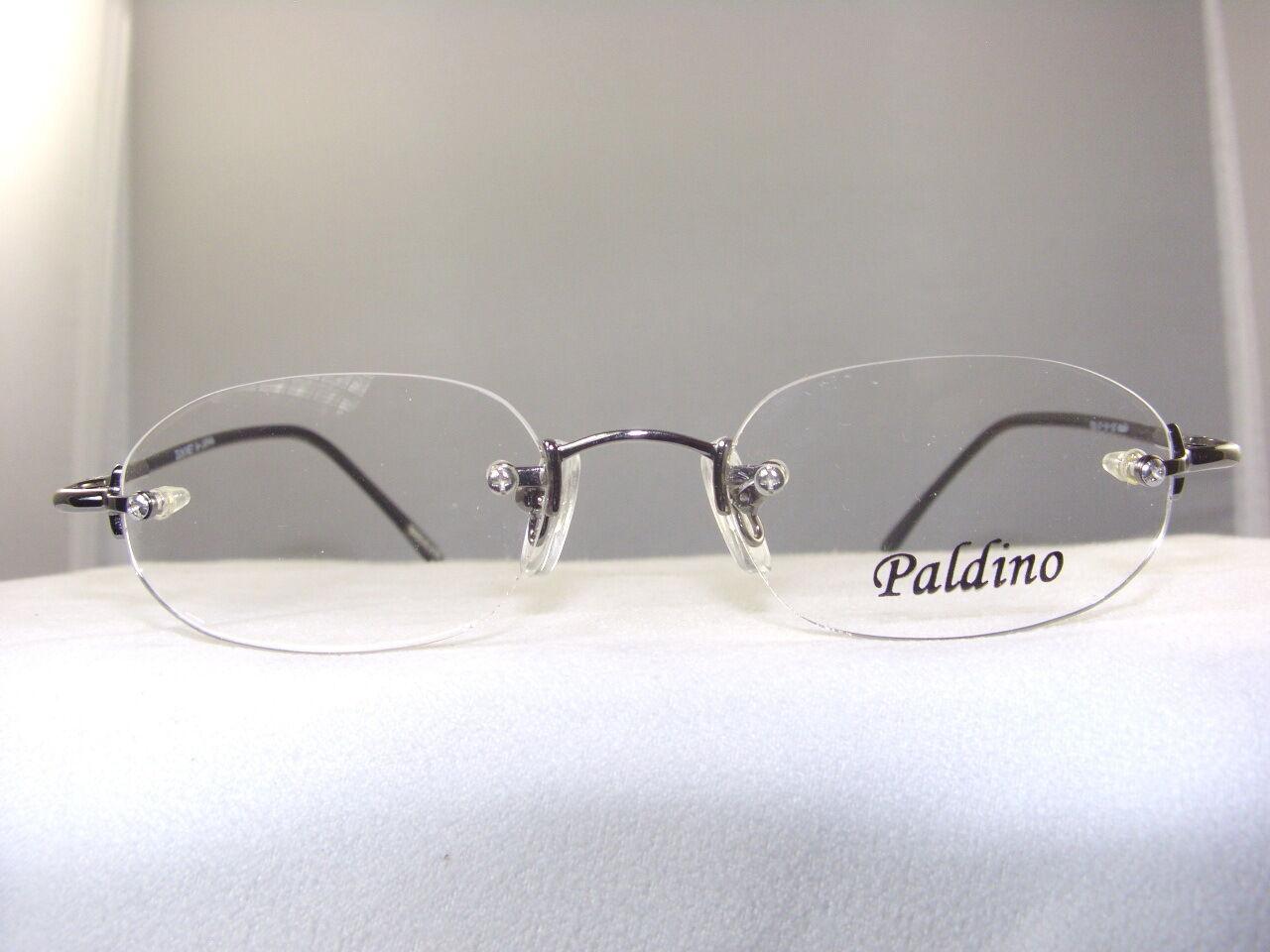 Eyeglass Frames Temple Pieces : PALDINO #708 GUNMETAL 3 PIECE RIMLESS EYEGLASS FRAME eBay