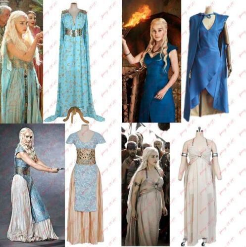 New Game of Thrones Daenerys Targaryen Dress Women Halloween Cosplay Costume