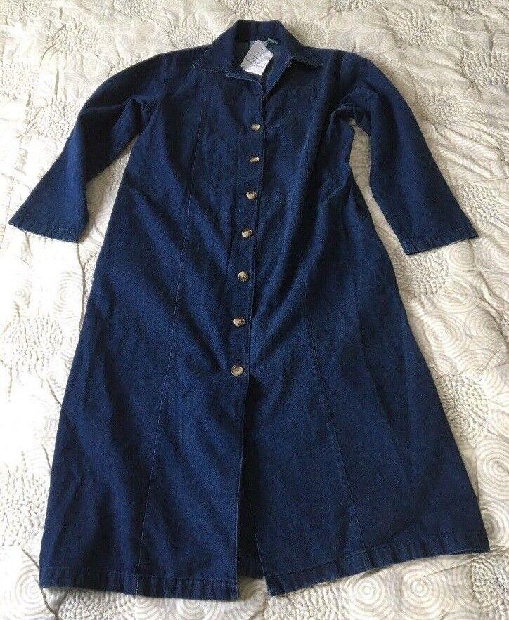 The Vermont Country Store Button Denim Long Sleeve Shirt Dress Sz M NEW