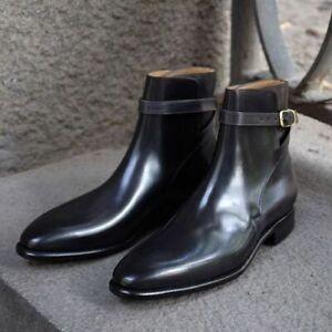 Mens Dress Boots Handmade Jodhpurs Ankle Boot Men Black Buckle Leather Boots