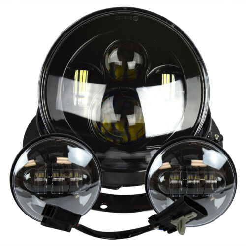 """7/"""" Projector Daymaker Headlight Passing Lights Mount Ring For Harley Touring Blk"""