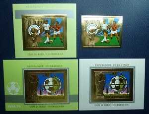 Dahomey 1974 Soccer FIFA World Cup Gold Michel 586 + Bl.37-39 Imperf MNH