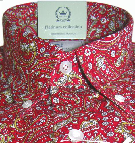 Camicia Rosso Paisley Men/'s Platinum button down cotone Relco s-3xl