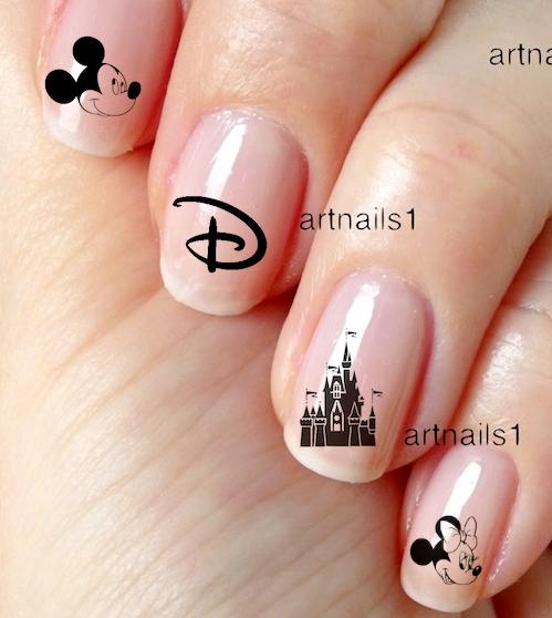Disney Mickey Castle Minnie Nail Art Water Decals Stickers Manicure Salon Polish