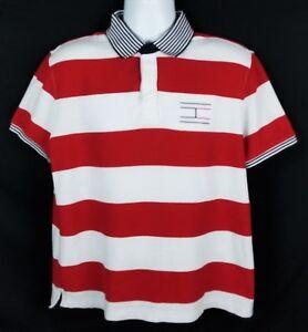 Tommy-Hilfiger-Performance-Pique-Polo-Shirt-Mens-Sz-L-Short-Sleeve-Striped-Logo