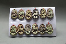 Chinese Purple robe Jade Carving Dragon Chinese Zodiac Pendant Necklace 12pc