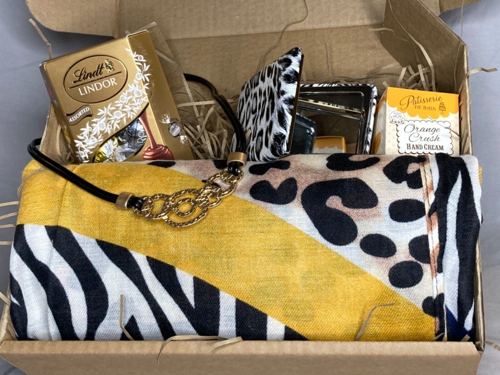 Women's gift hamper, animal print scarf and matching accessories- gorgeous gift
