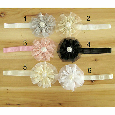 6PC Large Lace Layered Flower Headbands Girl Laday Dressing Party Wedding Outfit