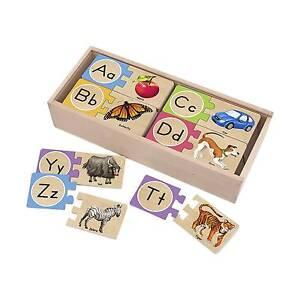 Melissa & Doug® Self-Correcting Alphabet Wooden Puzzles With Storage Box...