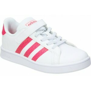 Details about Adidas Grand Court Girls Trainers Kids Shoes in White & Pink Glitter, Size 12-2