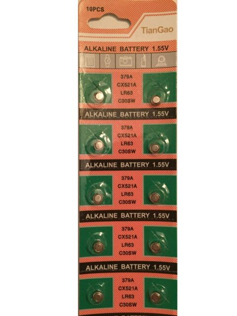 10x AG0 379A SR521 379 618 SR63 SR521SW Alkaline Button Cell Watch Battery 2020