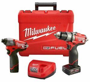 New-Milwaukee-M12-FUEL-12V-1-2-034-Hammer-Drill-1-4-034-Impact-Combo-Kit-2597-22