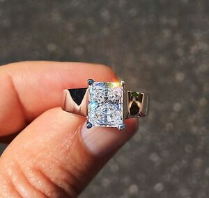 5 ct Radiant Cut Top CZ Imitation Moissanite Simulant  Sterling Silver Size 4