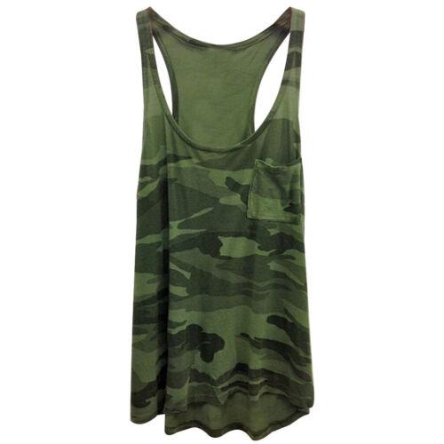 Summer Women/'s Camouflage Tank Tops Vest Ladies Casual Sleeveless Pocket Tops