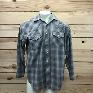 Falcon-Bay-Mens-Shirt-Large-Gray-Red-Plaid-LS-Pearl-Snap-Western-Cowboy-B83