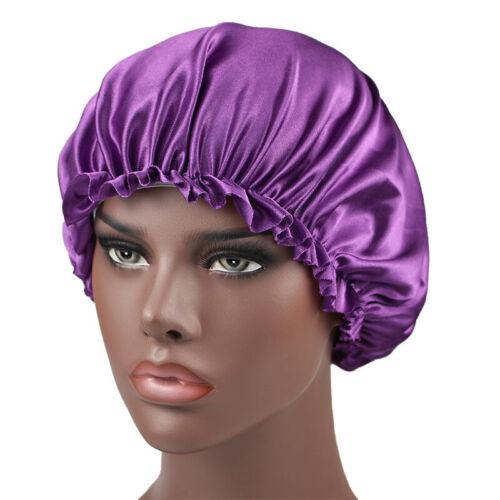 Hair Bonnet Hat Satin Elastic Sleep Cap Night Band Wrap Cover Turban Head Silk