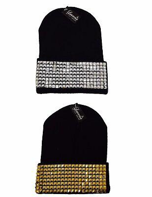Silver & Gold Pyramid Block Cuff Beanie Knit Ski Cap Skull Warm Winter