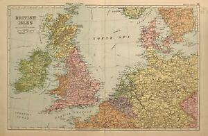 1898-Ancien-Carte-Iles-Britanniques-Angleterre-Galles-Ecosse-Irlande-Belgique