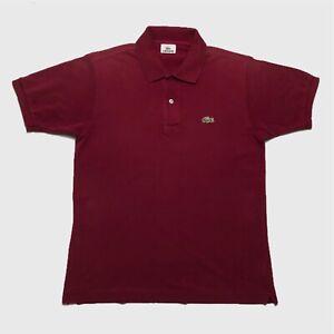 Mens-Lacoste-Polo-Shirt-Medium-4-Burgundy-Short-Sleeve