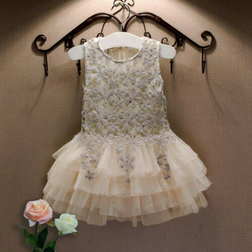Flower Girl Summer Lace Sequin Tutu  Crochet Dance Dress Wedding Party