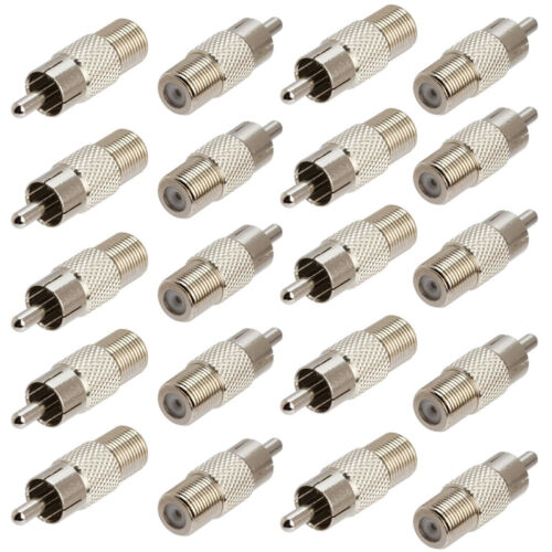 Lot 20pcs F Type Coaxial Coax Jack Female to RCA Plug Male Adapter connector TV