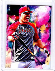 2021 Mike Trout Angels Baseball 1/1 ACEO Fine Art Print Card By:Q