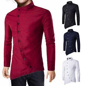 Luxury-Stylish-Men-039-s-Slim-Fit-Shirt-Long-Sleeve-Formal-Dress-Shirts-Casual-Tops