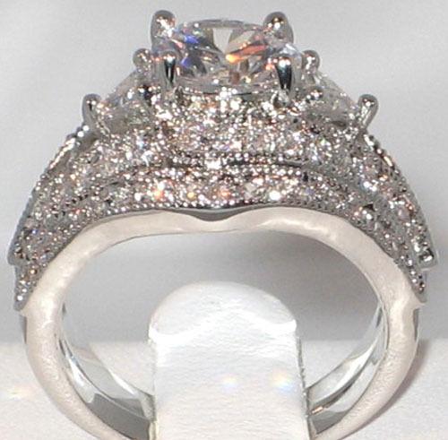 Antique Queen Victoria 2.94 Ct. CZ Platinum EP Bridal Wedding Ring Set- SIZE 6
