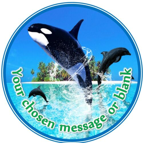 Killer Whale Orca and Dolphin ND1 birthday personalised round cake topper icing