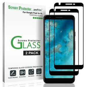 Google-Pixel-3a-XL-amFilm-Full-Cover-Tempered-Glass-Screen-Protector-2-Pack