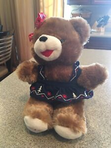 2019-Snowflake-Christmas-TEDDY-20-Brown-Bear-Girl-Red-Blue-Outfit-Walmart