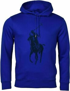 Polo-Ralph-Lauren-Men-039-s-Sz-M-Double-Knit-Big-Pony-Graphic-Logo-Hoodie-Blue-Black