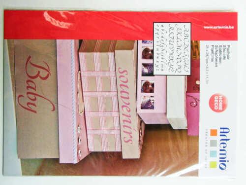 Pochoir Lettres 2 Alphabets tous supports planche A4 Artemio DIY Home Deco