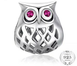 Details About 925 Sterling Silver Owl Charm For A Bracelet Comes In Velvet Gift Pouch