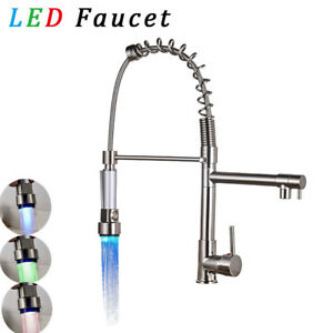Image Is Loading Brushed Nickel Kitchen Faucet LED Light Pull Out