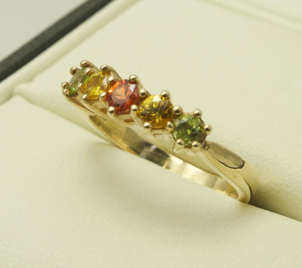 9carat 9k Yellow gold Multi Coloured Sapphire Set Ring Size UK-N US-6 1 2