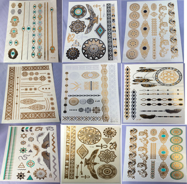9 Sheets Temporary Disposable Metallic Tattoo Gold Silver Black Flash Tattoos HU