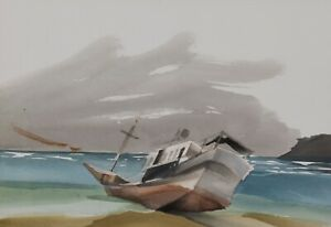 Toni Onley Watercolour Ship Wreck Painting Canadain Listed BCSFA CPE CSPWC RCA