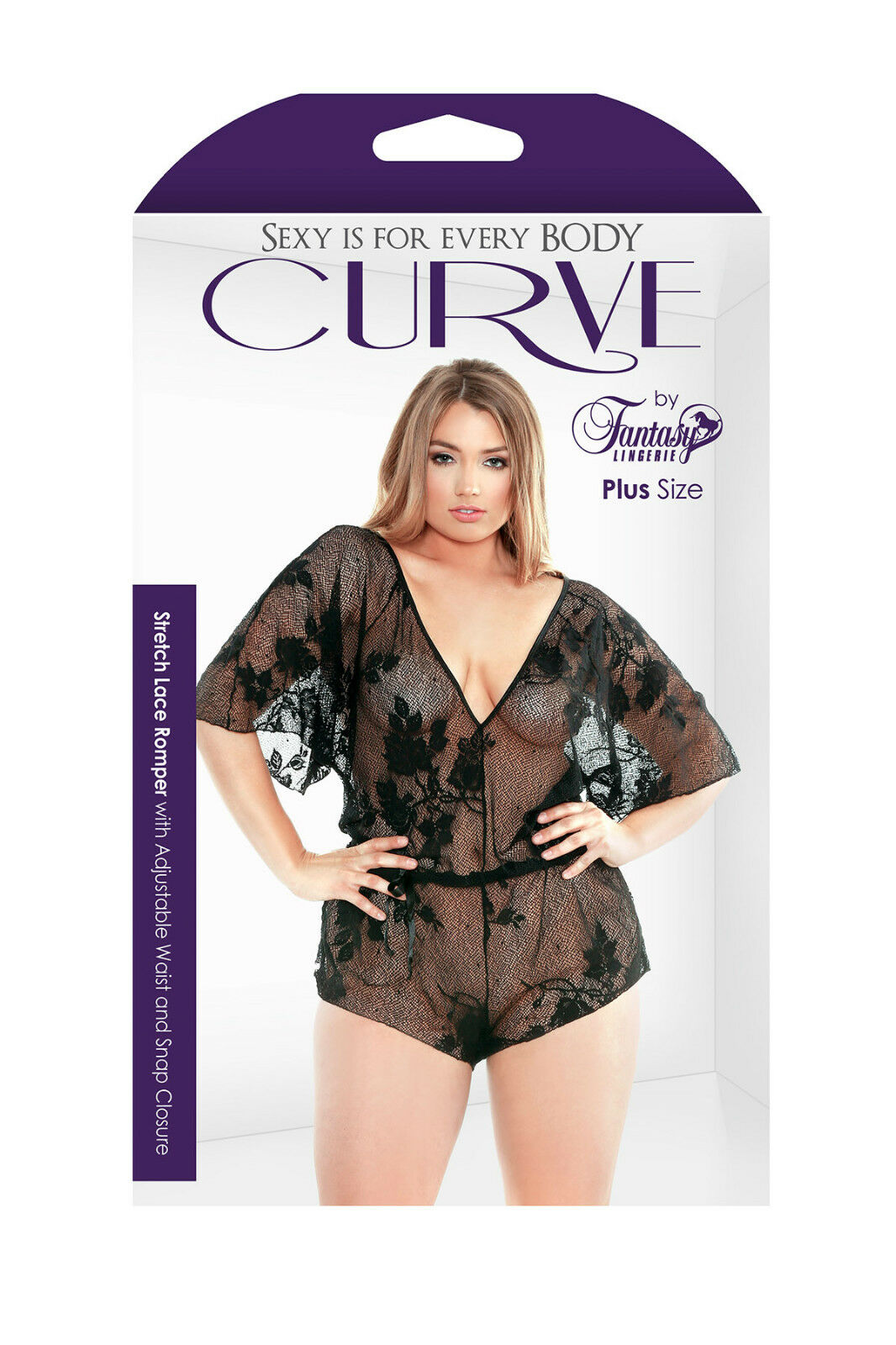 c777027de4e Curve Stretch Lace Romper With Adjustable Waist and Snap Closure Black  3x 4x for sale online