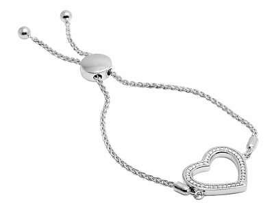"Jewelry & Watches Precise Ladies White Gold Sterling Silver Diamond Designer Heart Bolo Bracelet 0.05ct 7"" Refreshing And Beneficial To The Eyes Fine Jewelry"